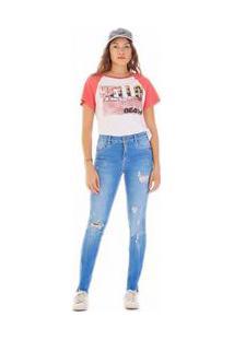 Calça Zinco Skinny Regular Cós Intermediário Barra Bordada Jeans