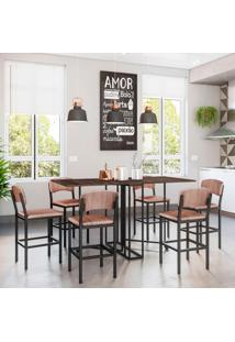Conjunto De Mesa De Jantar Luna Com 6 Bancos | Banquetas Nice Ameixa E Preto