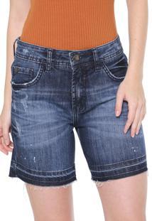 Bermuda Jeans Forum Reta Estonada Azul-Marinho