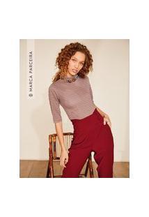 Amaro Feminino Framed Blusa Cropped Gola Alta Stripes, Listras Mini Vermelho