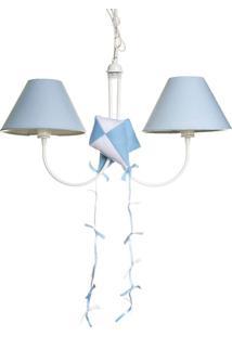 Lustre 2L Simples Com 2 Pipas Quarto Bebê Infantil Menino Potinho De Mel Azul - Kanui
