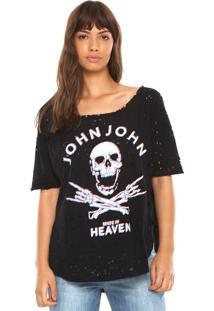 Camiseta John John Destroyed Preta