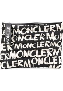 Moncler Clutch Com Estampa - Preto