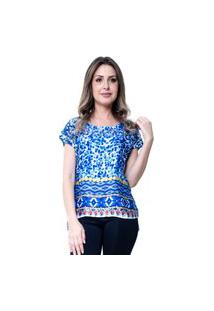 Blusa 101 Resort Wear Basica Étnico Azul