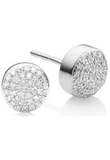 Monica Vinader Par De Brincos Com Diamante 'Fiji Button' - Prateado