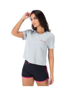 Blusa Cropped Moletinho Calvin Klein - Feminina - Cinza Cla/Rosa