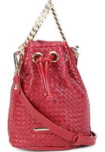Bolsa Couro Jorge Bischoff Mini Bag Tressê Feminina - Feminino-Vermelho