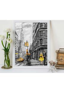 Quadro Decorativo Com Moldura Pintura Londres Branco - 20X25Cm - Multicolorido - Dafiti