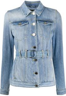 Pinko Jaqueta Jeans Com Cinto - Azul