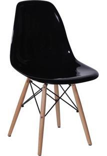 Cadeira Eames Dkr- Preta & Madeira- 80,5X46,5X42Cm