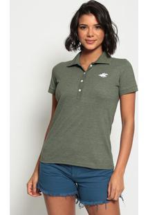 Polo Lisa Com Bordado Em Piquê - Verde Militarclub Polo Collection
