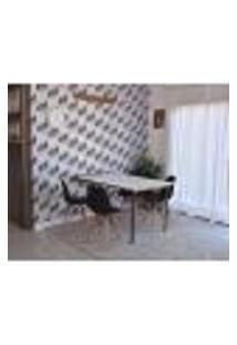 Conjunto De Mesa Dobrável Retrátil 1,40 Branco/Noronha + 4 Cadeiras Eiffel - Preta