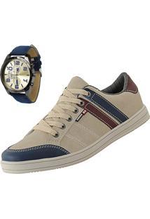 Sapatênis Cr Shoes Leve E Baixo Bege Com Relógio