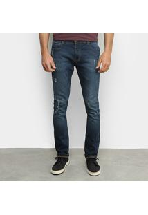 Calça Jeans Forum Skinny Destroyed Masculina - Masculino-Azul