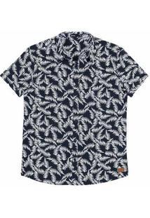 Camisa Masculina Manga Curta Em Tecido De Algodão Estampada