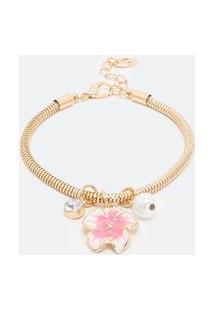 Pulseira Com Pingente De Flor Pintada Pérola Artificial | Accessories | Dourado | U