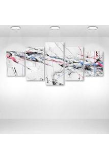 Quadro Decorativo - Abstract Paint Color Lines Spray Blue Pink Black - Composto De 5 Quadros - Multicolorido - Dafiti