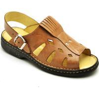 627e5da142 Sandália Couro Conforto Top Franca Shoes Masculino - Masculino-Caramelo