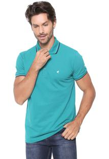 Camisa Polo Malwee Slim Listras Verde