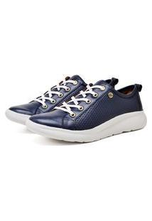 Tenis Sapatenis Slip On Ultra Leve Couro Confort Azul Marinho