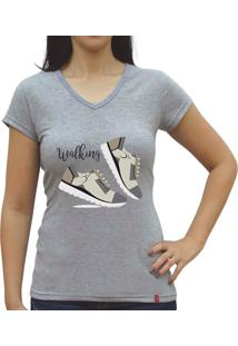Camiseta Baby Look Casual Sport Walking Cinza