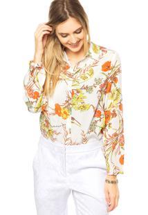 Camisa Mooncity Floral Branca