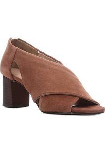 Sandália Couro Shoestock Camurção Salto Bloco Feminina - Feminino-Marrom