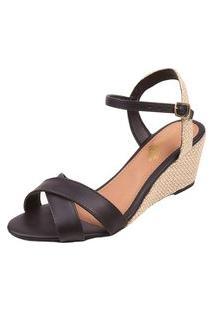 Sandália Uzze Sapatos Anabela Confort Preta