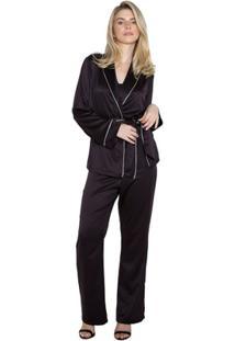 Pijama Inspirate Cetim Triplex Feminino - Feminino-Preto