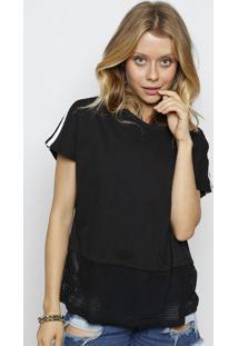 ... Camiseta Com Recorte Em Micro Furos- Preta   Branca-Rovitex 5acc11ac35
