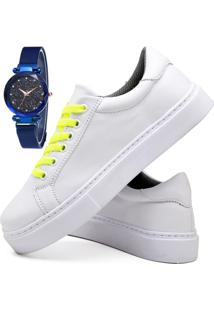 Tênis Sapatênis Casual Fashion Com Relógio Sky Feminino Dubuy 310El Branco - Kanui