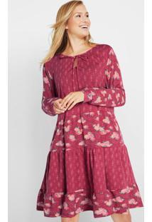 Vestido Túnica Manga Longa Estampado Bordô
