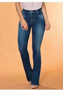 Calça Flare Sawary Jeans Com Bolsos