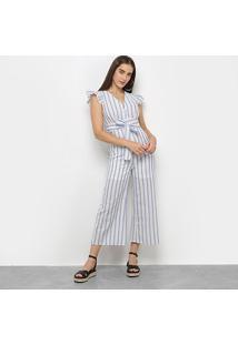 Macacão Lily Fashion Listrado C/ Botões Amarração - Feminino-Azul