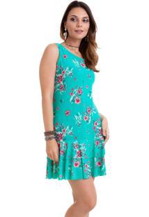 Vestido Manola Azul Tiffany Floral De Babado