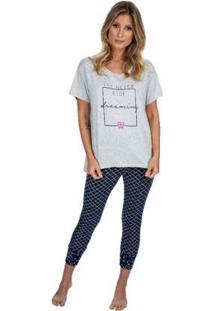Pijama Capri Dreaming Feminino - Feminino-Azul