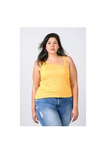 Regata Com Alça Assimétrica Plus Size Amarelo Regata Com Alça Assimétrica Plus Size Amarelo Ex Kaue Plus Size