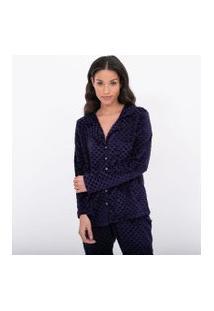 Pijama Americano Fleece Manga Longa Com Calça Estampa Corações | Lov | Azul | G