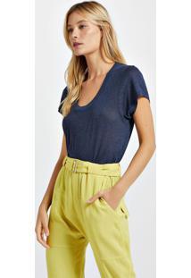 Blusa De Malha Com Decote New Colors Azul Lennon - Gg