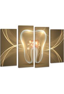 Quadro Oppen House 90X120Cm Decorativo Dente Odonto Clínica Dentista Decorativo Interires