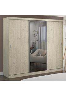 Guarda-Roupa Casal 3 Portas Com 1 Espelho 100% Mdf 774E1 Marfim Areia - Foscarini