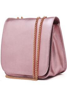 Bolsa De Couro Hendy Bag Menor Rosa Metalizada