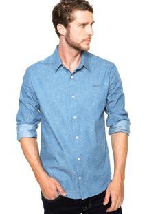 Camisa Colcci Slim Flor Azul