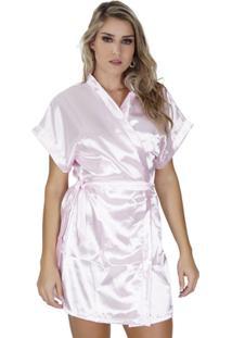 Robe Click Chique Manga Curta Com Amarradura - Feminino-Rosa