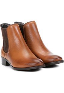 Bota Chelsea Shoestock Flat Couro Feminina - Feminino-Marrom Claro