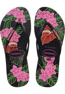 Chinelo Feminino Havaianas Slim Floral 0090