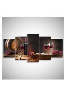 Quadro Decorativo Vinho Para Cozinha Sala Gourmet Mosaico 5