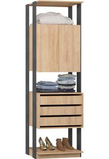 Closet 2 Portas 3 Gavetas 1006 Carvalho/Mel/Espresso - Bentec