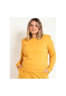 Blusão Fechado Em Moletom Com Ombreiras E Pregas Curve & Plus Size   Ashua Curve E Plus Size   Amarelo   Gg