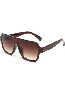 Óculos De Sol Evant Geométrico Envernizado Marrom